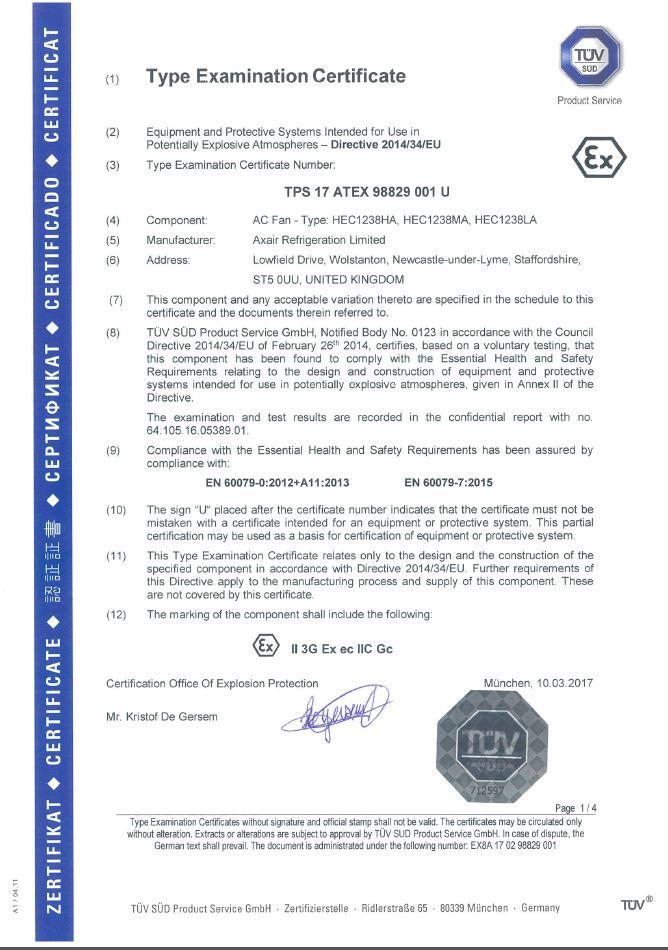 ATEX Test Certificate