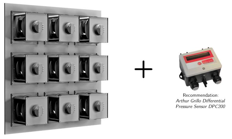 ECFanGrid with pressure sensor